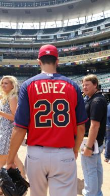 Jorge Lopez steps onto Target Field before the 2014 SiriusXM All-Star Futures Game.